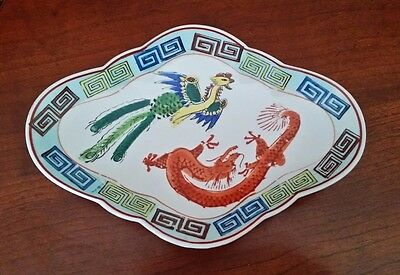 Antique Asian Sweetmeat porcelain Footed Dish with Dragon, Phoenix & Bats MARKED
