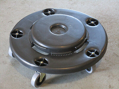 """Janitorial 18"""" Round Trash Can Dolly Garbage Container Swivel Wheels Brand New"""