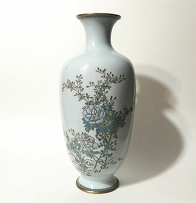 Large Antique Japanese Silver Wire Cloisonné Floral Vase in Powder Blue 12""