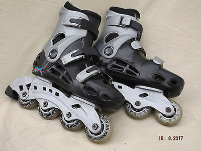 British Knight In Line Boys Roller Skates,size 3,3 Strap,padded Liners,clean G/c