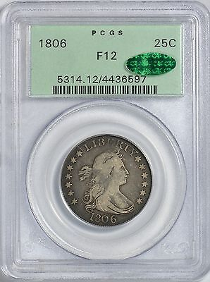 1806 Draped Bust Quarter PCGS F12  CAC Approved!  OGH