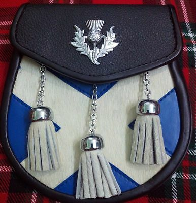 Semi Dress Calf Skin Sporran Leather With Saltire And Thistle Design Vipkilts
