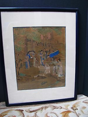Antique Chinese painting early 1900s Girls Gathering