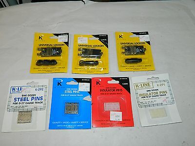 Mixed Lot K-Line 027 Track clips, pins and insulators original packs never used