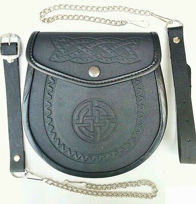 Celtic Tradtional Embossed Leather Sporran Kilts Scottish Wallet Smooth Finish