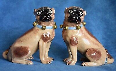 Vintage CARL THIEME Germany Dresden Matched Pair Fawn Pug Dog Male Female Bells