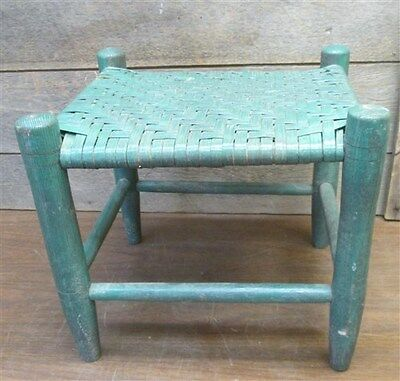 Small Green Wood Wicker Seat Stool Chair Rustic Country Patio Decor Vintage