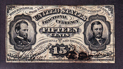 US 15c Fractional Currency Specimens Joined for Illegal Use FR 1274 VF (-002)