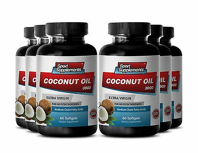 Coconut Oil Supplement - Organic Coconut Oil 3000mg  Burn More Fat Caps  6B