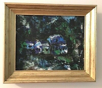 Vintage Mid Century Modern Abstract Expressionist Landscape Oil Painting Framed