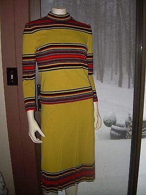 Vtg Francesca For Damon 2 Pc Wool Knit~Fitted Striped Mod 1970's?~Italy