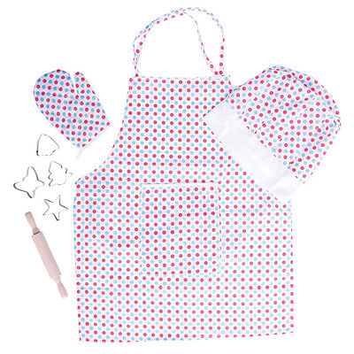 Personalised Girls/Boys Cake Baking Apron Set With Hat Cutters & Rolling Pin