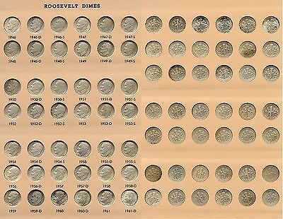 Roosevelt Dimes 1946 - 2017 including Proofs 229 Coin Collection in Dansco JU014