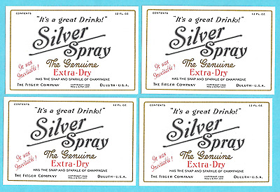 4 Vintage 1926 FITGER SILVER SPRAY LABELS Fitgers Beer Soda Pop Mixer Duluth MN
