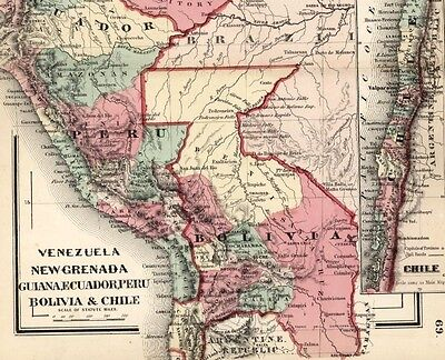 Brazil Bolivia Chile New Grenada Peru Ecuador 1865 Colton rare small antique map
