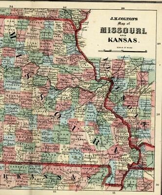 Missouri Kansas Arkansas St. Louis states 1865 Colton scarce small antique map