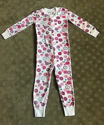 Hanna Andersson 90 Girls One-piece Pajamas Pink Letter Design 3T
