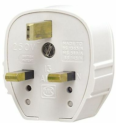 MK 655 White Tough-Plug, Copper, UK 13A - Excellent for Hi-Fi Audio Mains Cables