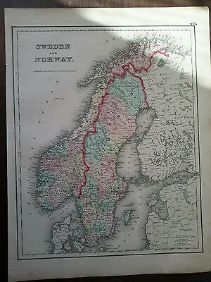 1857 Sweden Norway antique Colton Hand Colored Map