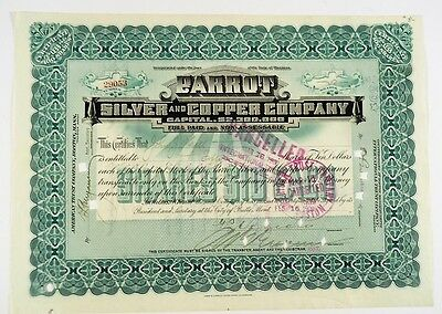 1909 Parrot Silver and Copper Company Montana Stock Certificate