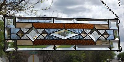 "• Transom Beveled Stained Glass Window Panel • 22 ½""x6 1/8"""