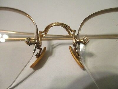 antique 12 k gold rim eyeglasses w/black case