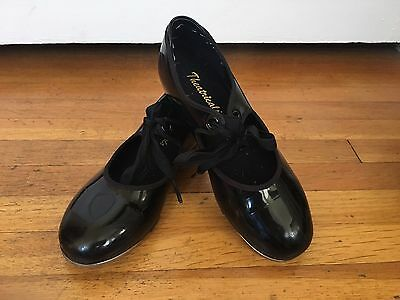 Theatricals Footwear Girl's Tap  Shoes Black Patent Leather Sz 13 Elastic Ties