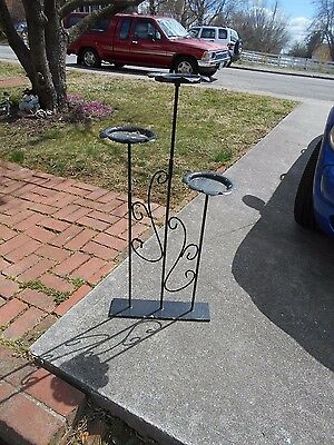 "Vintage 3 Tier Black Wrought Iron Metal Pedal Plant Stand Shabby 37"" Tall"
