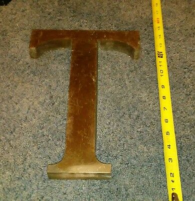 Vintage Antique Large Cast Brass Bronze Letter T