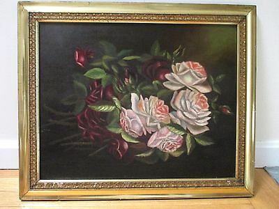 Antique Victorian  Still Life Floral Oil Painting Lemon Gold Gilt Frame 20X24