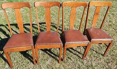 Antique Set of Four Matching T-Back Oak Dining Chairs