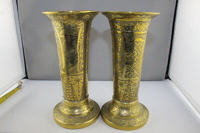RARE Antique Brass Pair Early 20th Cent Kashmir India Trumpet Form Etched Vases
