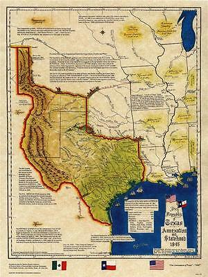 The Republic of Texas Annexation and Statehood 1845 Map