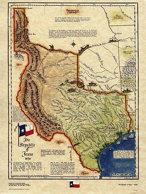 Republic of Texas Historical Map 1836 Old History Antique