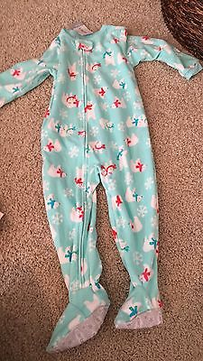 Nwt Carters Zip Footie Pajamas Baby Girl Size 24 Month