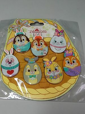 HKDL Easter egg 7 pin set (Disney Marie Rabbit Thumper Bunny Chip Dale Clarice)
