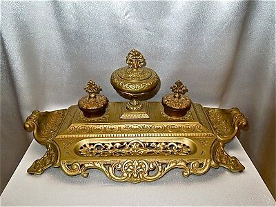 Antique Gilding Bronze/Brass Double Inkwell 19 Century, Length ~20""
