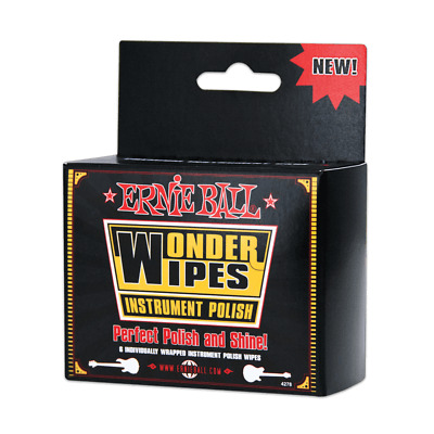 Ernie Ball Wonder Wipes 6 Pack Of Individually Wrapped Instrument Polish