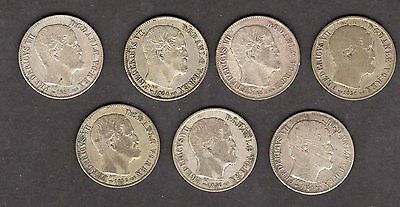 Denmark 16 Skilling Coin Lot - 7 Different Silver Coins -  Nice Lot!!!