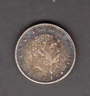Hawaii 1883 Silver Quarter Dollar Great Toned Coin in AU Condition