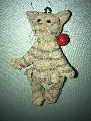 Cat Christmas Ornament Grey Striped Cat With Bell Kitty Cat Ornament