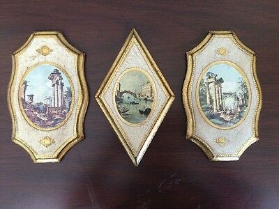 Vintage Florentine Gilded Wood Plaques Made In Italy Set Of 3