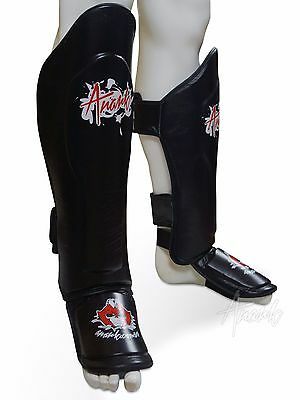 ANARK™ Genuine Leather Muay Thai/ Kickboxing Shin Guards/ Shin Pads