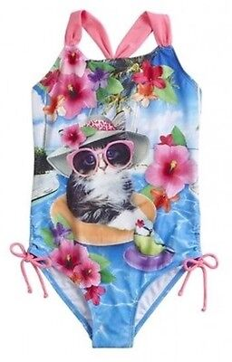 Girls Justice Kitten One Piece Swimsuit Sz 8 New  Blue Pink