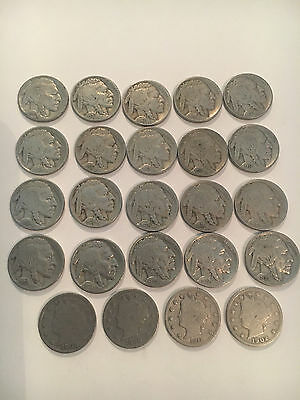 Buffalo Nickel Lot 20 Coins And 4 Liberty V Nickels 24 Coins , Full Dates  #3455