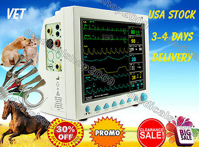US Vet Veterinary Patient Monitor 6 Parameter,ECG,NIBP,PR,Spo2,Temp,Resp,FDA