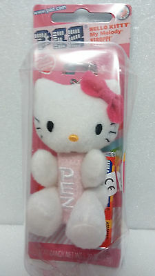 ~Hello Kitty Pez Candy Dispenser~Key Chain Clip~Embroidered Plush~New!