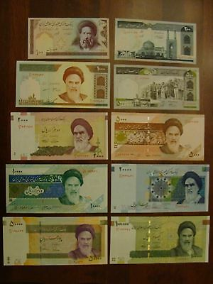 Iran Full Set Of10 Different 100 To 100,000 Current Rials Uncirculated Lot  !!