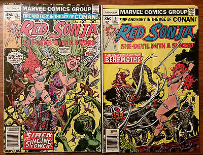 Lot of 2 Red Sonja Vintage Marvel Comics Issues 6 7