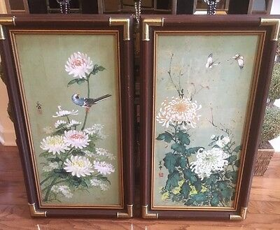 """Pair Of Beautiful Asian Watercolor Painting """"Peony And Bird""""  Artist Signed"""